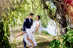 Love among the weeping willows Royalty Free Stock Photo