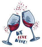 `We love wine` poster with two wine glasses. Can be used as invitation banner for wine party or as menu cover for wine bar, vector illustration in sketch style Royalty Free Stock Photos