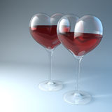 Love for wine. Two heart shaped red wine glasses, 3d rendering Royalty Free Stock Images
