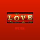 Love Wins!. Slot machine illustration on red Royalty Free Stock Photos