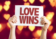 Love Wins card with bokeh background Stock Image