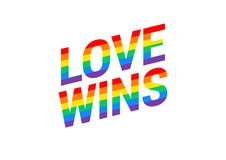 Free Love Wins - Pride Month Rainbow Flag Typography With Pride Rainb Stock Images - 119517944