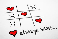 Love always wins, Tic Tac Toe Game Stock Photography