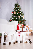 Love and winter concept - wooden letters and pine cones in chris Stock Photography