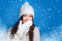 Love Winter. Pretty Young Happy Woman In Winter Clothes Stock Image