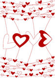 Love wire valentines day card. Valentines day card with red hearts and word love hanging on wire Stock Photos
