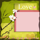 Love wish card blank. Love wish card with blooming sumi-e watercolor Royalty Free Stock Image