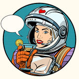 Love woman cosmonaut cocktail. Pop art retro style. pin up girl. Science fiction. Beautiful woman Royalty Free Stock Images
