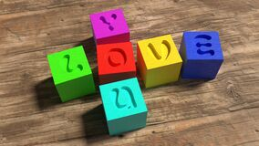 Love, Wooden Blocks, Colorful, Toys Stock Photography