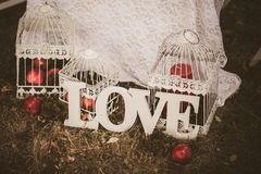 Love - wooden inscription for wedding Stock Photography