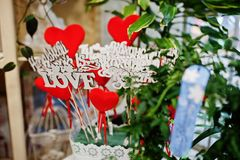 Love wooden letters for flowers present. royalty free stock image