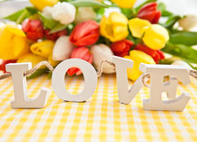 LOVE in wooden letters Royalty Free Stock Image