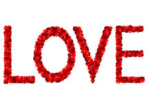 Love word. English word love made of red hearts Royalty Free Stock Photo
