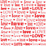 Love is the word. The word love repeated in many different fonts Royalty Free Stock Image