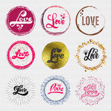 Love - the word as a badge decorated in different part gold, rays, water color, foil, can be used cards, posters Stock Photography