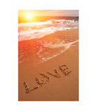 Love word on beach Royalty Free Stock Photo