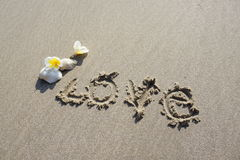 Love word on on the beach Stock Image