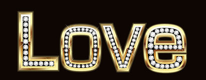Love word in bling bling. Gold and diamond Stock Images