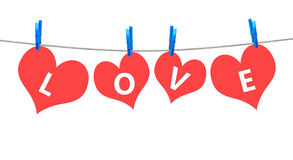 Love word on clothesline Royalty Free Stock Images