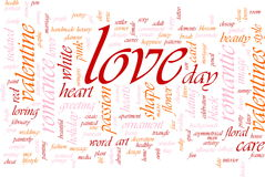 Love word cloud. Word cloud concept illustration of love romance Royalty Free Stock Image