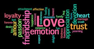 Love word cloud on black background. Tags connected with the word Love on black background. Could be used as a greeting card for St. Valentine too Royalty Free Stock Photo
