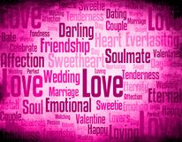 Love word cloud. Word clove with different love related words synonyms on grunge pink background Royalty Free Stock Images