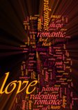 Love word cloud glowing. Word cloud concept illustration of love romance glowing light effect Royalty Free Stock Photos