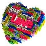 Love Word Cloud. Heart-shaped of love word cloud on white background stock illustration