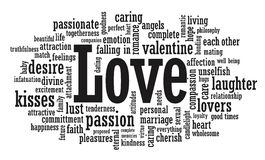 Love word cloud illustration. In vector format Royalty Free Stock Photography