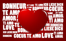Love word cloud with red heart. Love word cloud red background Royalty Free Stock Photography