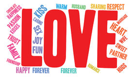 Love Word Cloud. On a white background Stock Images