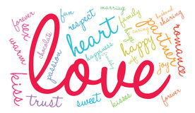 Love Word Cloud. On a white background Royalty Free Stock Images
