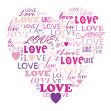 Love in word collage composed in heart shape Royalty Free Stock Image