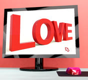 Love Word On Computer Screen Showing Online Dating Stock Images