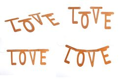 Love word construction with letter blocks. stock image