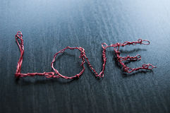 Love word created using iron wire Stock Photos