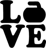 Love word with curling rock Royalty Free Stock Photography