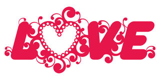 Love word. Love word decorated with floral ornament Stock Photo