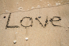 Love. Word drawn on the beach sand Royalty Free Stock Photos