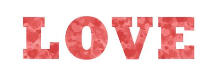 Love word filled with hearts royalty free stock photo