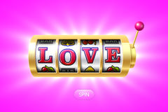 Love word on gold slot machine Royalty Free Stock Photos
