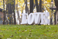 Love word on grass Stock Images