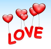 Love word with heart balloons Stock Photos