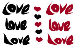 Love word and heart in black red over white Royalty Free Stock Photos
