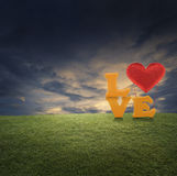 Love word with heart shape ballon on green grass in park. Evening time royalty free stock image