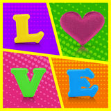 Love word and heart shape on colorful background Royalty Free Stock Photo