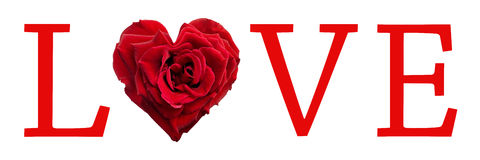 Love word with a heart shaped rose. Love word with a heart shaped red rose Stock Photography