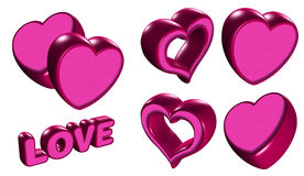 Love word and hearts balloons Stock Photo