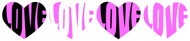 Love word hearts pink line royalty free illustration