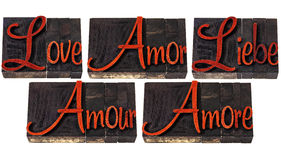 Love word in 5 languages Royalty Free Stock Photos